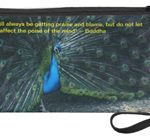 peacock wristlet front