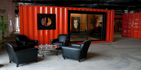 Former shipping containers are transformed into offices at Marketing Via Postal Group, Inc. in Santa Ana.